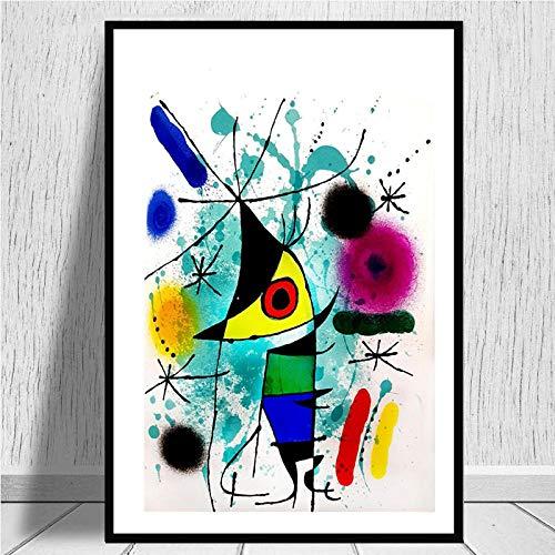 HNZKly Joan Miro Famosos Pinturas Abstracto Surrealismo Poster Joan Miro Pared Arte Cuadro Moderno De la Lona Impresiones Pinturas Salon Decoracion 50x70cm / Unframed-A6 Art