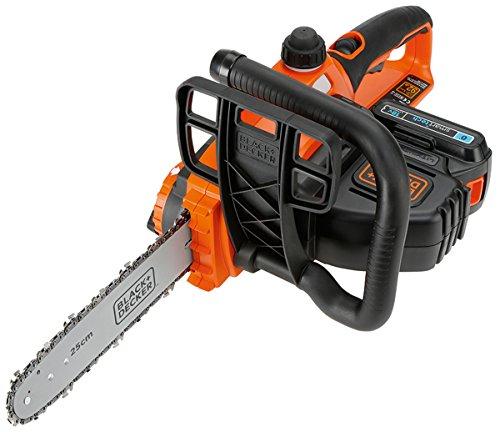 Black & Decker GKC1825LST-QW kettingzaag, 18 V, 2,0 Ah, kettingzaag, kettingzaag, zwaardlengte: 25 cm, maximale zaagcapaciteit 180 mm, inclusief smart tech li-ion-accu en oplader, GKC1825LST