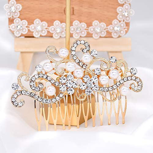 Bridal Wedding Hair Piece Crystal Rhinestones Pearls Women Hair Side Combs for Prom Crystal Headpiece for Women, Gold