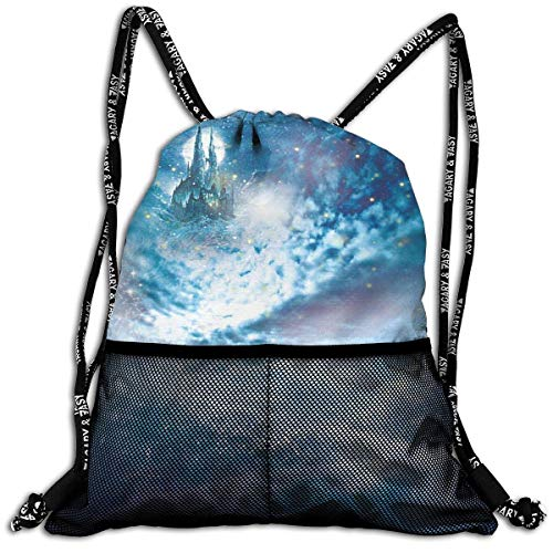 Lmtt Sac à Cordon pour Hommes/Femmes-Galaxy Fashion Lightweight Sackpack Casual Bundle Backpack for Sports, Travel, Gym, Training, Yoga