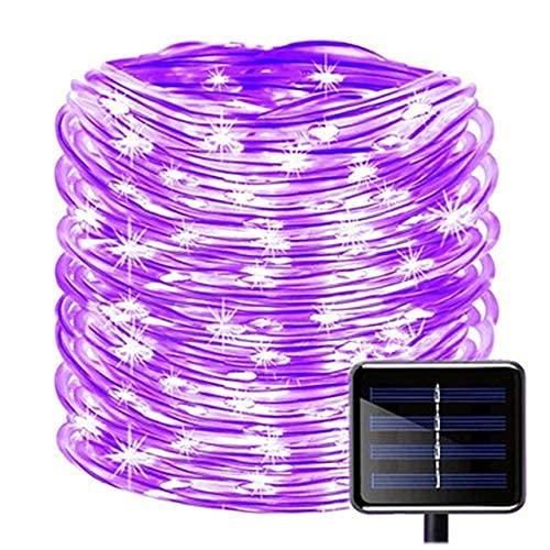Luz solar LED para exteriores, tubo de jardín, tira de luces de Navidad, para fiestas, bodas, árboles, patios, decoración de solarne (color: blanco, potencia: 12 m, 100 leds) SKYJIE (color: púrpura)