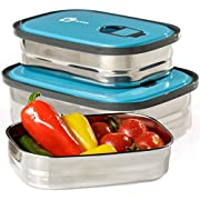Bento Lunch Box Food Container Storage Set 3 In 1. Leak Proof Stainless Steel Can with Lids. Healthy Takeaway - Kids - Adults For Outdoor Meals. FREE BONUS-Enjoy Fun & Decorative Stickers. BPA Free