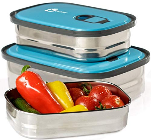 Monka Stainless Steel Lunch Box Food Container Storage Set 3 In 1. Leak Proof Metal Bento Lunch Box With Lids. Healthy Takeaway For Kids & Adults For Outdoor Meals. Blue