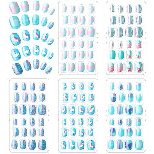120 Stücke Mädchen Aufdrücken Nägel Gefälschte Nägel Künstliche Nagelspitzen Kinder Vollabdeckung Kurze Falsche Fingernägel für Mädchen Kinder Nagelkunst Dekoration (Blaue Farbe)