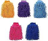 ZFQZKK Mitt de Lavado de Autos 5pcs - Mitt de Lavado de Microfibra Grande para Limpieza de automóviles Mits Herramientas Premium Chenilla Lavado de Coches sin Cero Kit de Limpieza de Coche