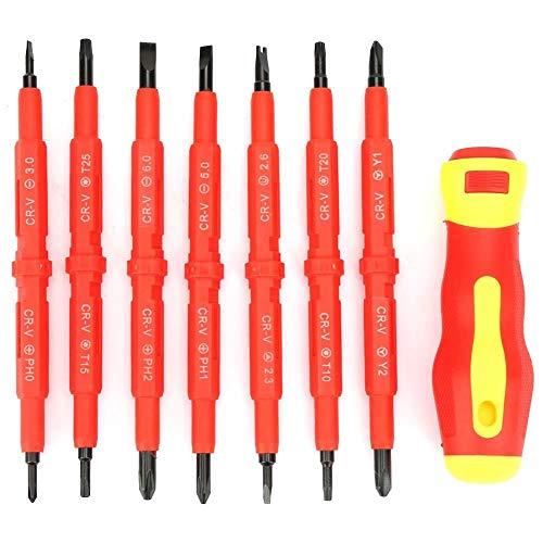 Schroevendraaier- en magneetbitset, sleuf-/kruis-/ster-/U-/Y-schroevendraaier- en magneetbit-elektro-isolatiehandvat schroevendraaierset