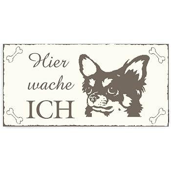 Turschild Dekoschild Hier Wache Ich Chihuahua Langhaar Hund Vintage Holzschild Schild Haustier Jagdhund Wachhund Amazon De Burobedarf Schreibwaren