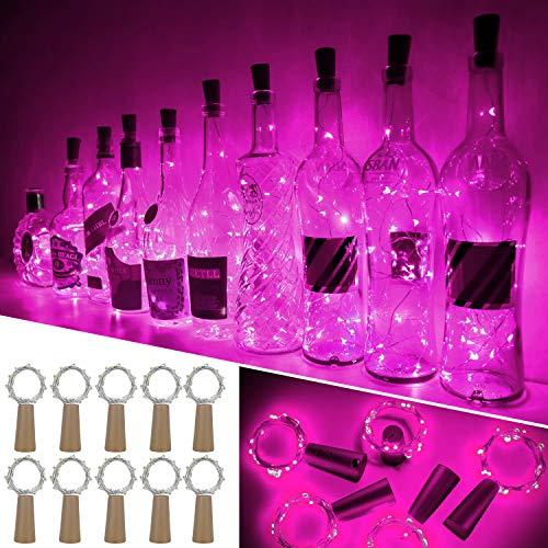 Luces Para Botellas, Ariceleo 10 Piezas 2 Metros 20 LED Cobre Alambre Luces Led para Botellas con Pilas, Corcho Lamparas Cadena Luz de Botella Decorativas Para Fiesta Boda Navidad DIY (Rosado)