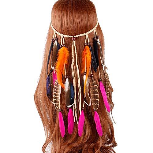 LJPzhpPA Feder Fascinators Hut Bohemian Gypsy Indian Feather Haarteil Stirnband Feather Haarband Haarband für Frauen