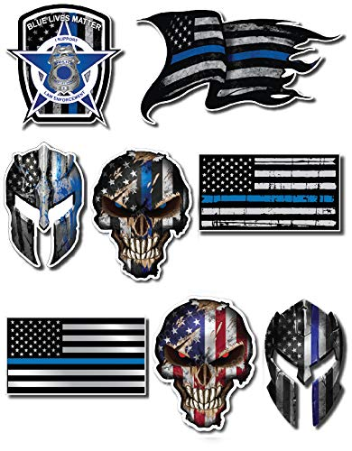 Mega Variety Pack of Thin Blue Line Police Officer Blue Lives Matter American Flag Vinyl Decal Sticker Car Truck BLM(8 Pack)