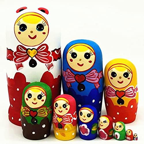 Matroschkas Matrjoschka Matryoshka Puppen in Russland Made in Russland 10-Lagen-chinesischen Stil Holzprodukte Spielzeug Matryoshka Puppen in Russland hergestellt ( Color : Red , Größe : 8.2x3.9in )