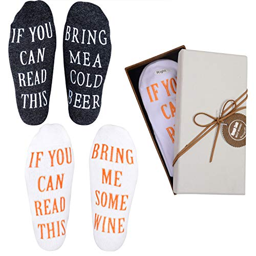 Wine Socks Valentines Day Gifts - 2 Pairs Funny Wine Gifts for Men with Funny Sayings IF YOU CAN READ THIS,Best Novelty Gifts for Wine/Beer Lover,Husband or Father,Perfect Birthday Anniversary Gifts