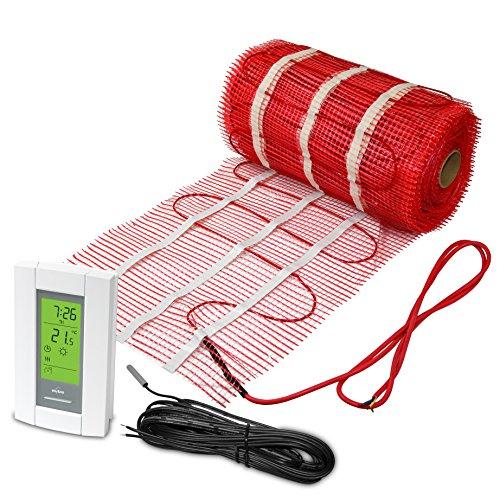 Kit de alfombrillas de 40 pies cuadrados, 120 V, sistema de calefacción de suelo radiante eléctrico con termostato de detección de suelo programable Aube
