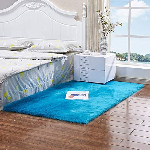 Heze Alfombra cuadrada o rectangular de lana sintética para dormitorio, ventana de bahía, sala de estar, felpa, alfombra