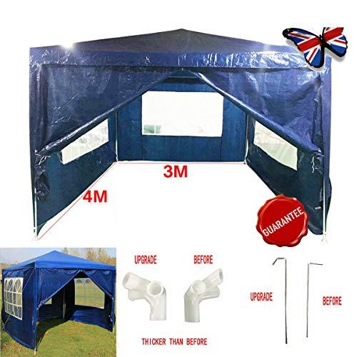 JAOSY 3M x 4M Gazebo waterdicht met 4 zijwanden 3 vensters luifel bruiloft tent luifel tuin partytent opgewaardeerde versie, 5 jaar garantie, blauw