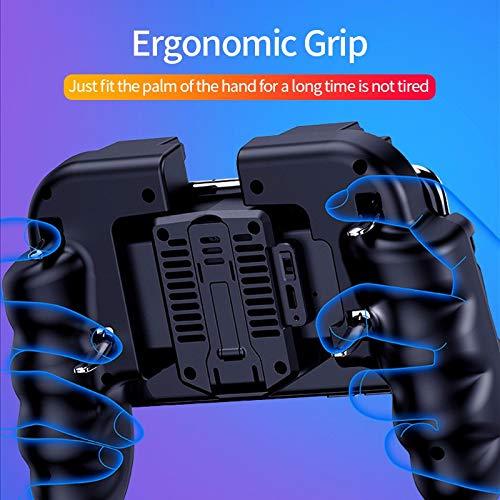 SCYDAO Mobile Gaming Controller-Spiel Joystick Mit Lüfter, 6 Finger Für PUBG/Call of Duty/Fotnite Gaming Grip Auslöser Für 4,7-6,5