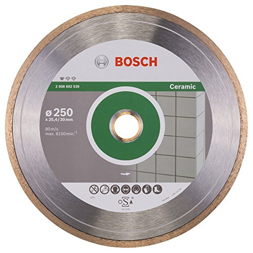 Bosch Professional Diamanttrennscheibe Standard für Ceramic, 250 x 30 und 25,40 x 1,6 x 7 mm, 2608602539