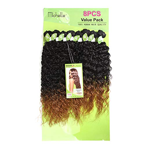 X-TRESS Black Ombre Brown Kinky Curly Synthetic Hair Weave Bundles 16 18 20 inch 8Pieces Sew-in Weaves 30% Human Hair Weft Extension High Temperature Fibre (#T1B/30)