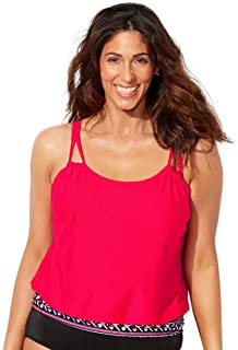 Swimsuits For All Women's Plus Size Loop Strap Blouson Tankini Top