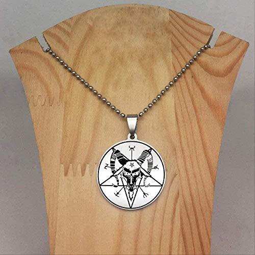 ZJJLWL Co.,ltd Collar con Colgante de Cabeza de Cabra Collar de Perlas Cadena Collares joyería para Hombres y Mujeres