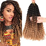 6 Packs Passion Twist Hair 14 Inch Water Wave Crochet hair Bohemian Curl Passion Twist Synthetic Crochet Braids for Braiding Hair Ombre Curly Hair (14 INCH, Black-dark brown-light brown)