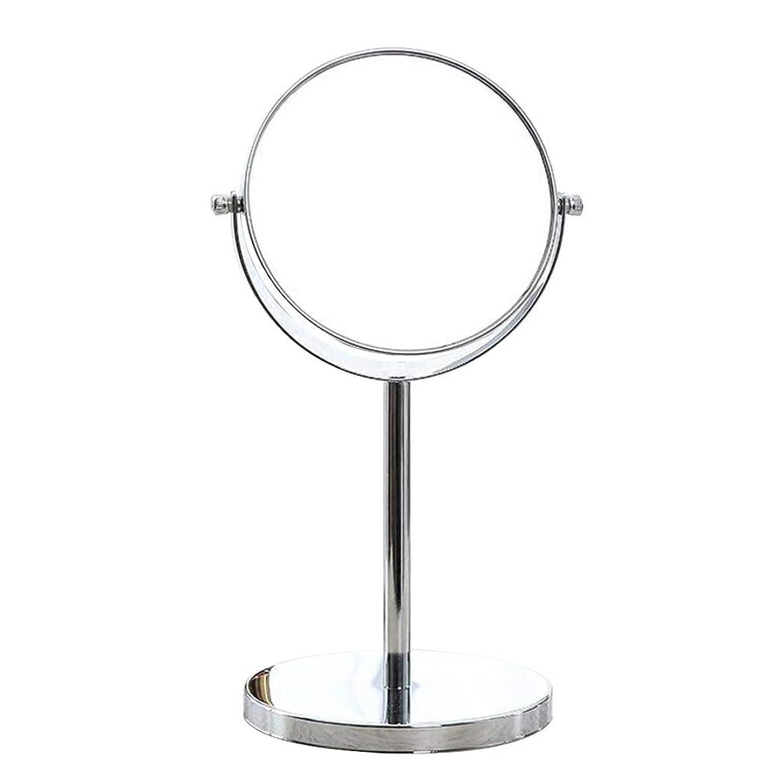 ハーブ原稿作成するHUYYA デスクトップ化粧鏡、両面 化粧ミラー 3倍拡大 けメイクミラー 360 °回転バスルームミラー,Silver_6inch