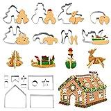 Suppyfly 18 Stück Weihnachts-Kuchenform Fondant Zucker Basteln Kekse Weihnachten Dekorieren Werkzeug