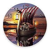 GAVA Dormitorio relojes de pared mar pirata barco atardecer arte sala de estar reloj de pared relojes redondos decoración hogar dormitorio cocina decoración relojes de pared