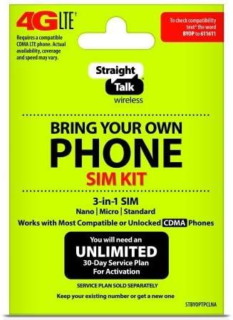"Straight Talk - Bring Your Own Phone ""CDMA"" 3-in-1 Sim Card Kit (4G LTE) - ""Verizon"" Compatible"