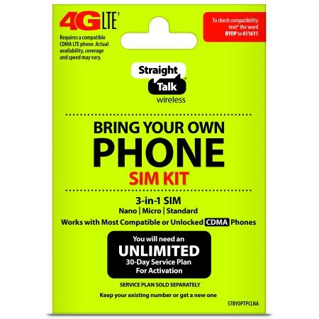 Straight Talk - Bring Your Own Phone 'CDMA' 3-in-1 Sim Card Kit (4G LTE) - 'Verizon' Compatible