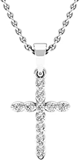 0.20 Carat (ctw) 10K Gold Round Diamond Ladies Cross Pendant 1/5 CT (Silver Chain Included)