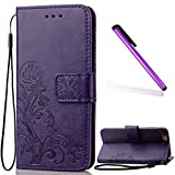 5C Case iPhone 5C Case EMAXELER Stylish Wallet Case Kickstand Flip Case Credit Cards Slot Cash Pockets PU Leather Flip Wallet Case with Stand For iPhone 5C Clover Purple