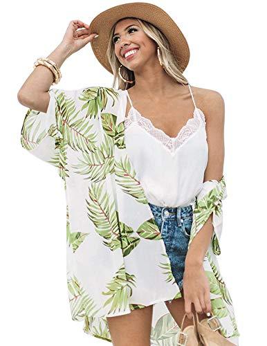 Zexxxy Cubierta de Mujer Robe Blusa Boho Floral Kimono Cardigan Capes Hojas Verdes Sueltas, X-Large