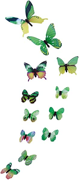 12Pcs DIY Luminous Butterfly Wall Sticker Cute Butterfly Mural Decals Wall Decoration Kids Bedroom Living Room Nursery Baby Room Office Hotel Shop Decor Gift For Children Boy Girl Green