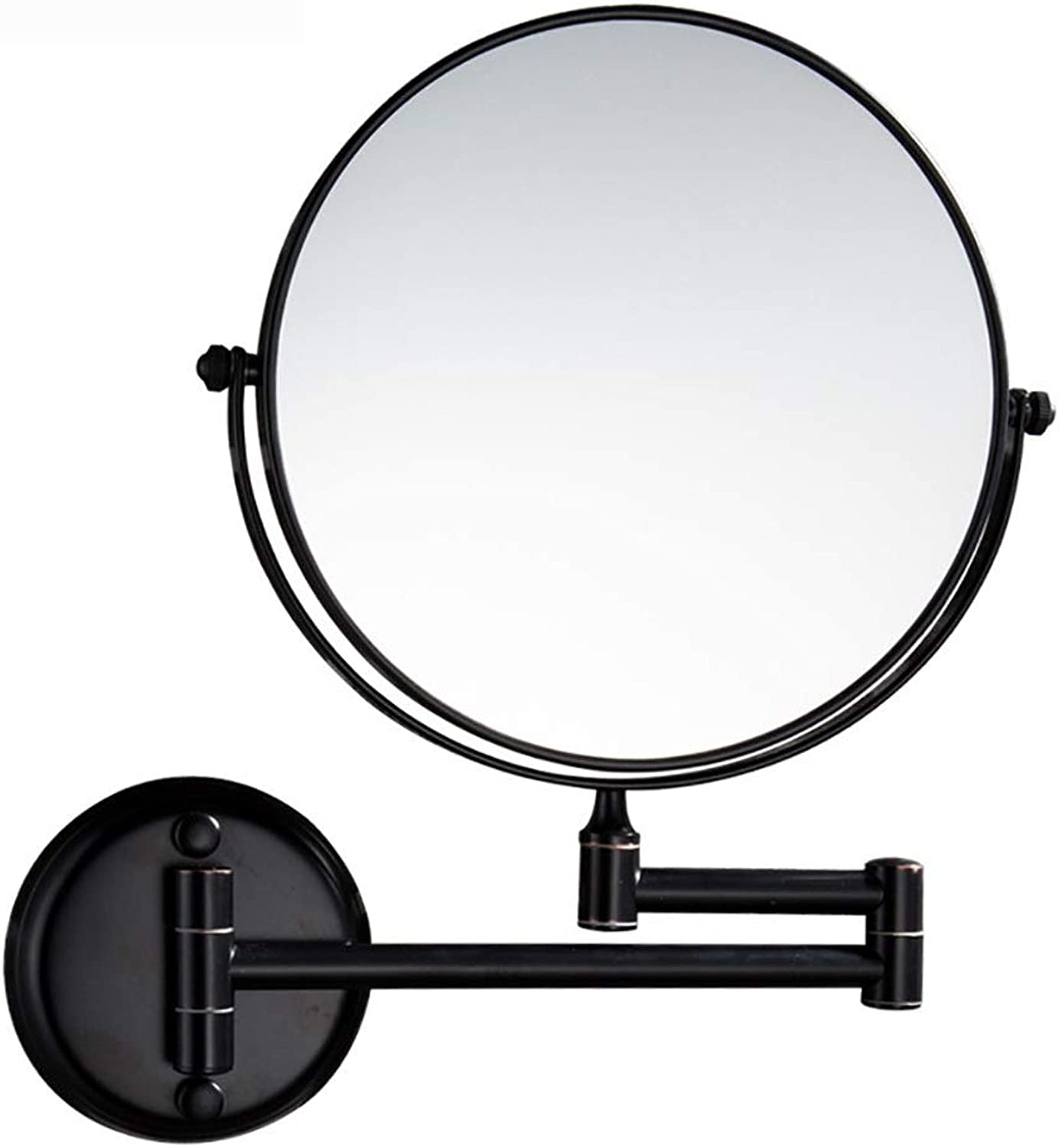 Two-Sided Swivel Wall Mount Mirror, Wall Mount Makeup Mirror, 1x 3x 5x 7x 10x Magnification, 8-Inch Round Bathroom Mirrors for Wall (color   Black, Size   10X)