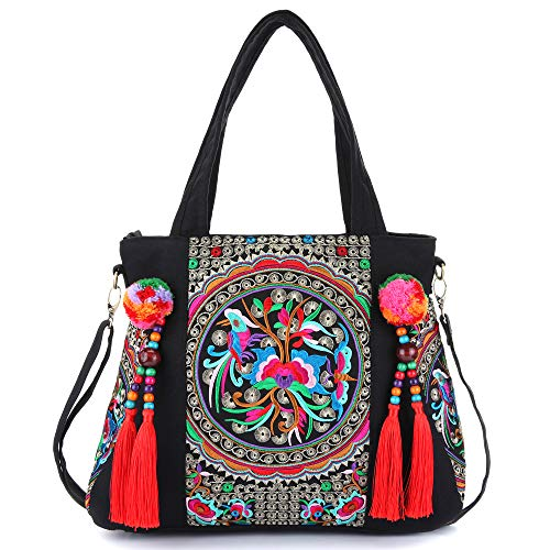 Beautiful embroidery and great handmade workmanship Top Handbag, attractive. Zippered opening closure: 1 big Compartment with 1 small Zipper pocket and 2 open pockets; 1 external back-wall Zipper pocket. Approx Size: 14.96(length), 12.99(height); 5.1...