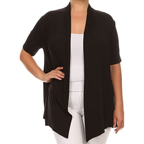 5d07e454cc5 BNY Corner Women Plus Size Short Sleeve Cardigan Open Front Casual Cover Up