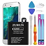 Google Pixel Battery Upgraded ZURUN 3200mAh Li-Polymer Battery B2PW4100 Replacement for HTC Google Pixel (5.0 inch) 35H00261-00M G-2PW410 Nexus S1 with Screwdriver Tool Kit