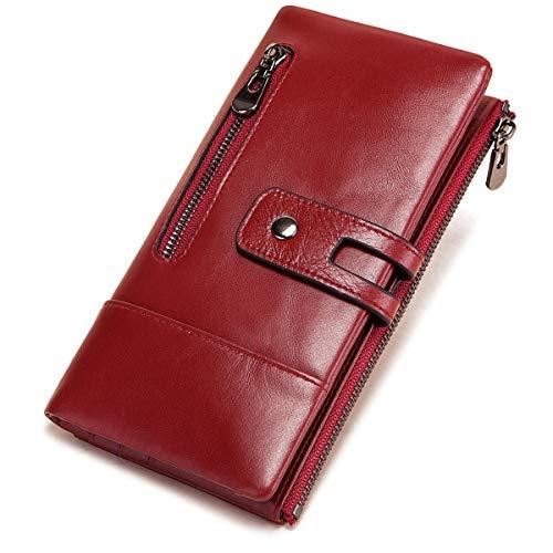 REETEE Monederos Mujer Cartera de Mujer de Gran Capacidad de Cuero, Muchos Bolsillos Billetera Larga Mujer con RFID Bloqueo Carteras de Piel con Cremallera y Ranuras para Tarjetas (Rojo) … …