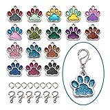 Craftdady 32 ciondoli pendenti smaltati a forma di zampa di gatto e cane, 16 colori con impronta di animali galleggianti in metallo con anelli di salto, chiusura a moschettone.