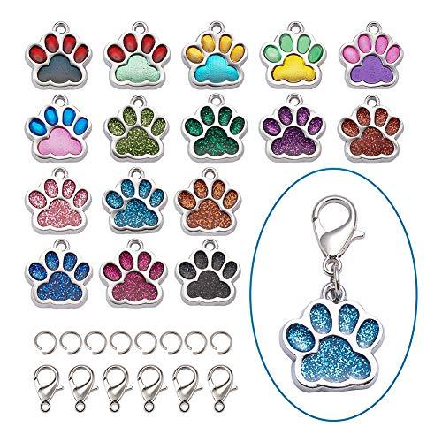 Craftdady 32 ciondoli pendenti smaltati a forma di zampa di gatto e cane, 16 colori con impronta di animali galleggianti in metallo con anelli di salt