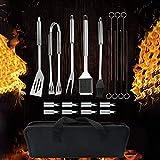 SummerSun Barbecue Accessori, 20 Pezzi di Barbecue Utensili in Acciaio Inossidabile, Kit BBQ Utensili per Grill, Adatto per BBQ All'aperto