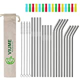 """16 Set Silver Reusable Metal Straws, 0.24"""" Wide Stainless Steel Straws Drinking Straw for 20 and 30 oz Tumbler with 16 Silicone Tip & 4 Cleaning Brush & 1 Bag"""