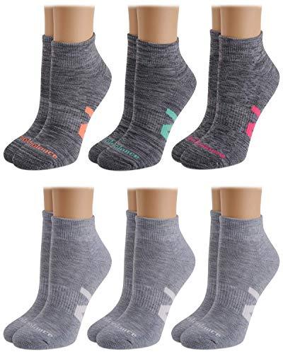 New Balance Women's Athletic Arch Compression Cushion Comfort Quarter Cut Socks (6 Pack), Grey, Size Shoe Size: 4-10