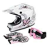 TCT-MT DOT Helmet+Goggles +Gloves Youth Kids Pink Butterfly ATV Offroad Dirt Bike Helmet Motocross Helmet Gloves Goggles S~XL (X-Large)