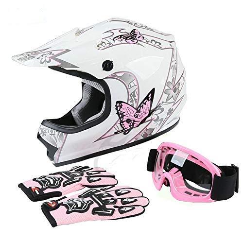 TCT-MT DOT Youth Helmet w/Goggles +Gloves Pink Butterfly ATV Dirt Bike Motocross Helmet Gloves Goggles S~XL (Large)