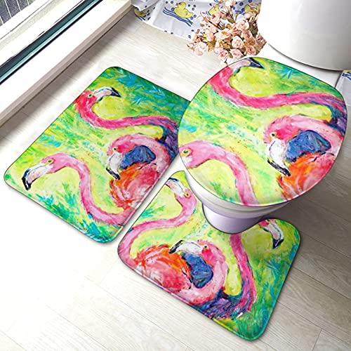 Juego de 3 alfombras de baño, hechas a mano, diseño de flamenco, estampado de pájaros, absorbentes y antideslizantes, alfombrilla de baño + contorno + tapa de inodoro