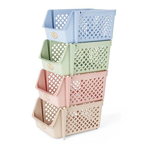 Titan Mall Stackable Storage Bins for Food Snacks Bottles Toys Toiletries Plastic Storage Baskets Set of 4 15x10x7 Inchbin Blue-Green-Pink-Khaki Color Shelf Baskets