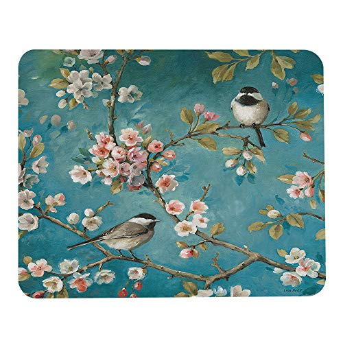 Wozukia Bird Mouse Pad Two Bird with White Pink Flower Gaming Mouse Pad Rubber Large Mousepad Personalized Design Mouse mat for Computer Desk Laptop Office Work 7.9x9.5 Inch