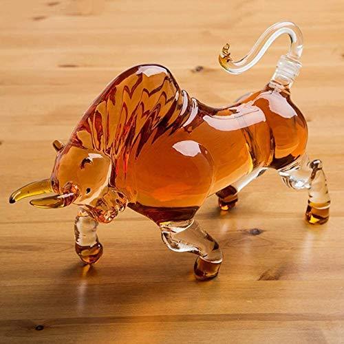Decantador de vino de vino de cráneo y gafas Set Anillo de Whisky Animal, 1000ml Toro Licor Anter, Para Licor Scotch Vodka Vino Borbón, Whisky, Scotch, Ron Diseño transparente Botella de vidrio única